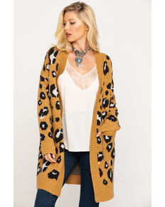Miss Me Women's Ginger Brown Leopard Cardigan, Brown, hi-res