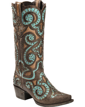 Lane Paulina Scroll Cowgirl Boots - Snip Toe, Brown/turq, hi-res