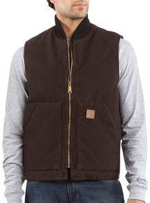 Carhartt Sandstone Work Vest - Big & Tall, Dark Brown, hi-res