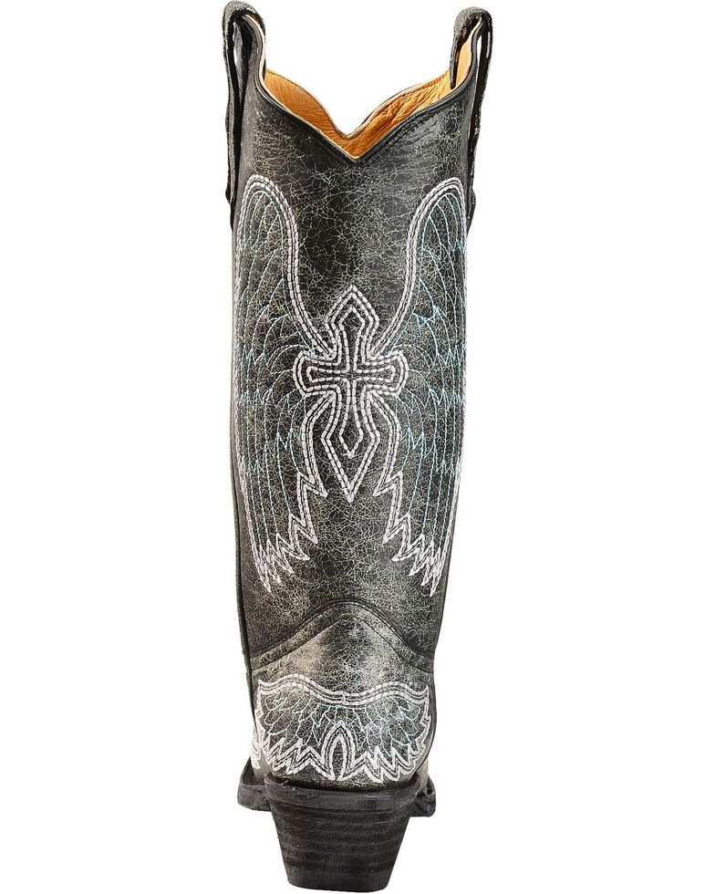 Circle G Crackle Wing & Cross Embroidered Cowgirl Boots - Snip Toe, Black, hi-res