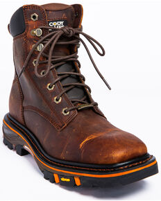 Cody James Men's Decimator Lace Kiltie Work Boots - Wide Square Toe, Brown, hi-res