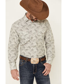 Roper Men's Grey Classic Floral Striped Long Sleeve Snap Western Shirt , Grey, hi-res