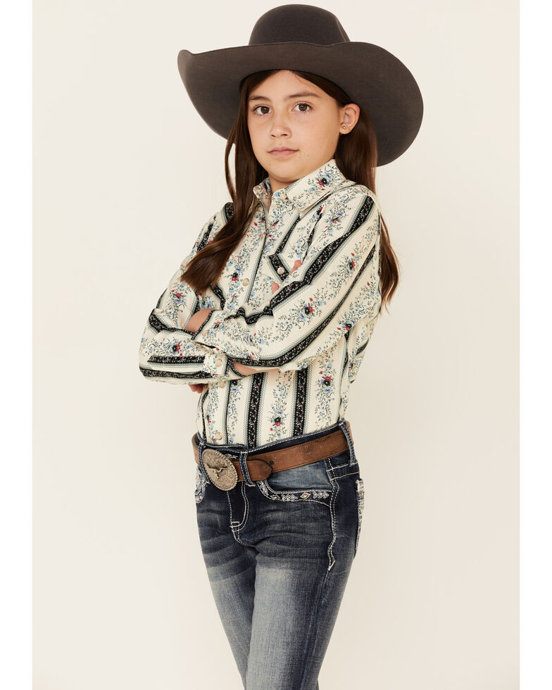 Wrangler Girls' Ivory Floral Print Long Sleeve Western Shirt , White, hi-res