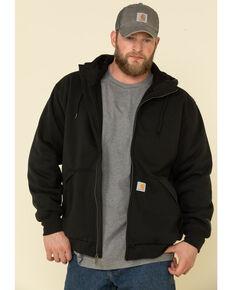 Carhartt Men's Black Rain Defender Thermal Lined Zip Work Hooded Sweatshirt - Tall, Black, hi-res