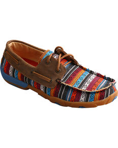Twisted X Women's Serape Driving Moc Shoes - Round Toe , Multi, hi-res