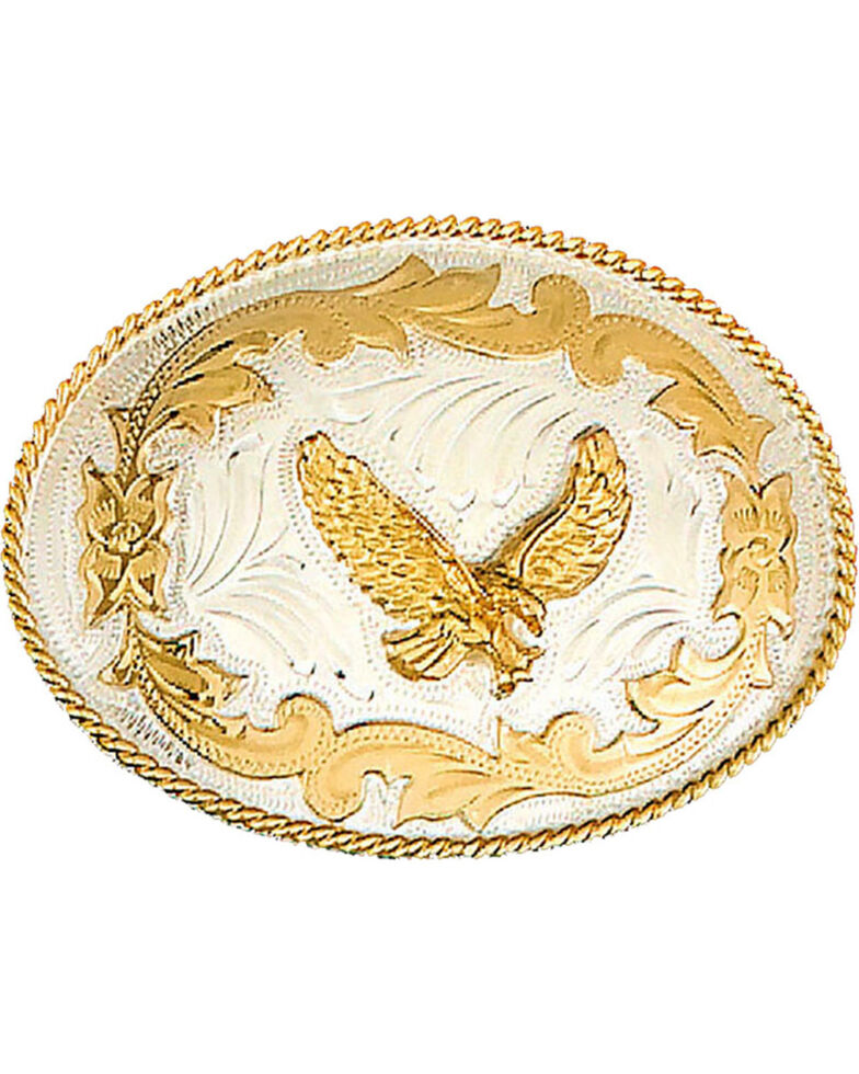 Western Express Men's German Eagle Belt Buckle , Silver, hi-res