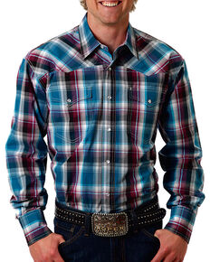 Roper Men's Plaid Printed Long Sleeve Shirt, Teal, hi-res