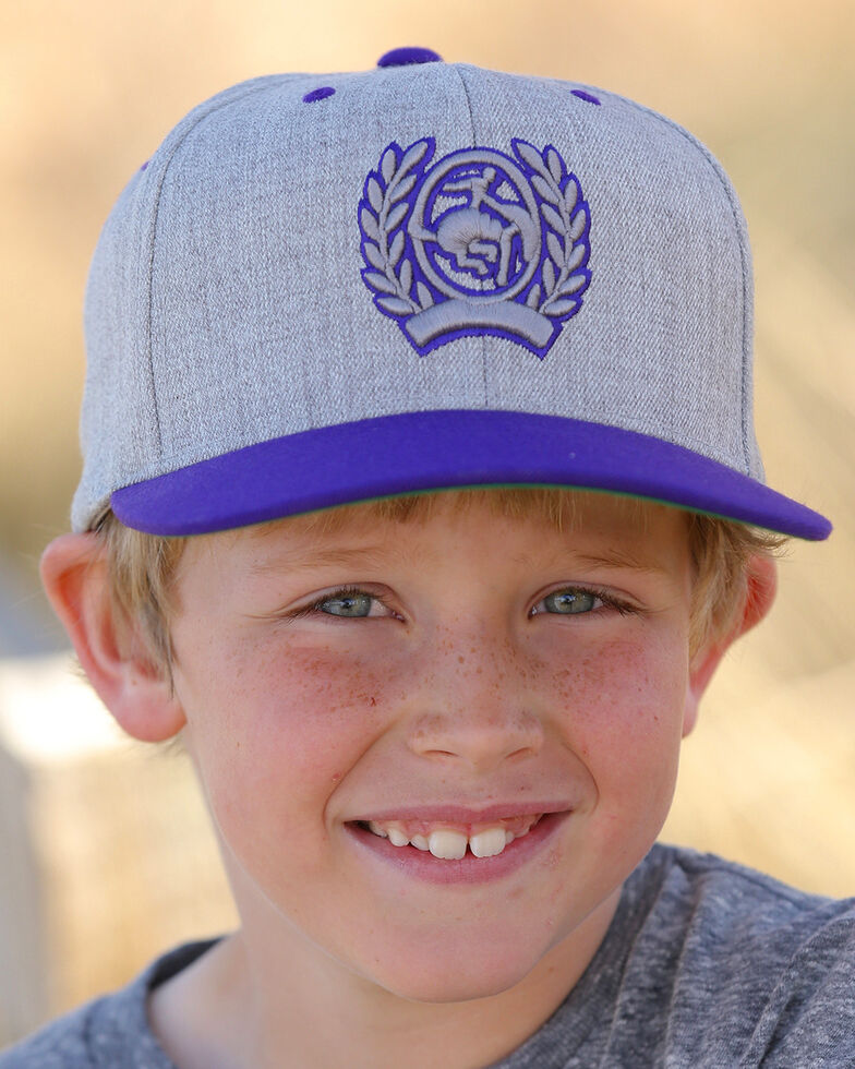 Cinch Boys' Flat Bill High Profile Flexfit Cap, Purple, hi-res