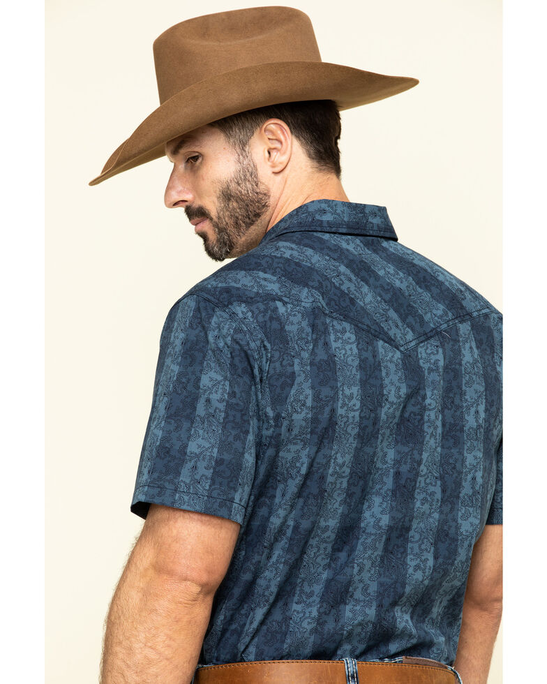 Cody James Men's Paisley Check Plaid Short Sleeve Western Shirt , Blue, hi-res
