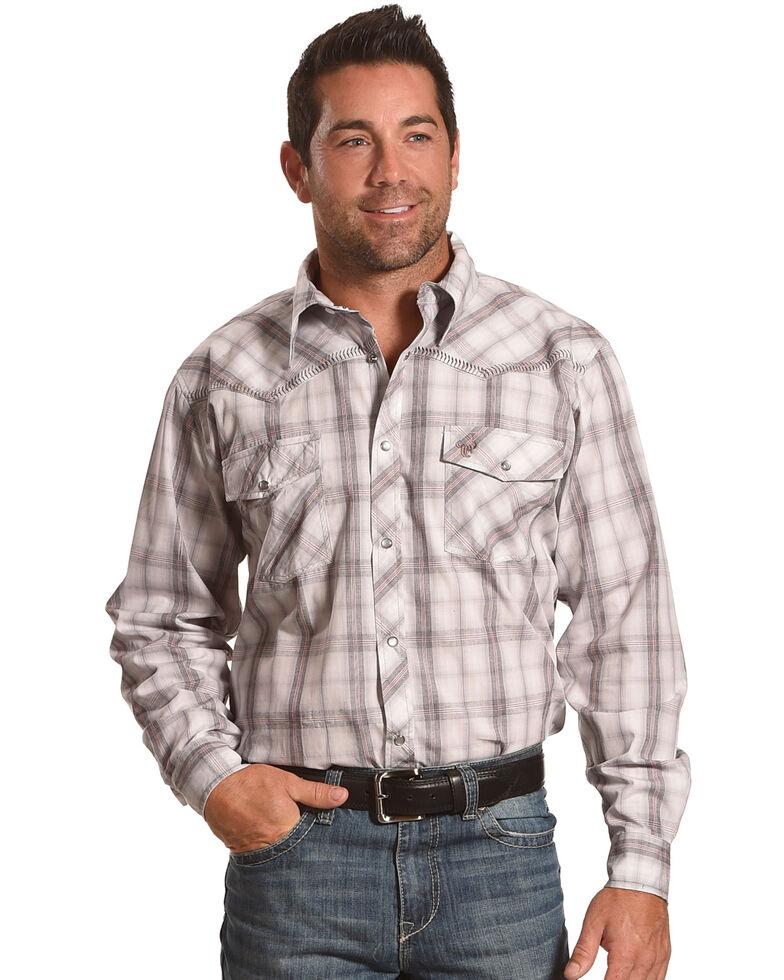 Cowboy Hardware Men's White Plaid Long Sleeve Western Shirt , White, hi-res