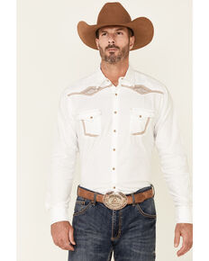 Rock 47 By Wrangler Men's White Embroidered Solid Long Sleeve Snap Western Shirt , White, hi-res