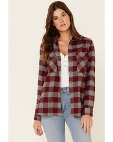 Pendleton Women's Wine Plaid Elbow Patch Long Sleeve Western Flannel Shirt , Wine, hi-res