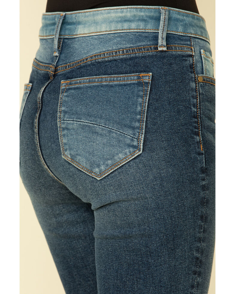 Driftwood Women's Medium Wash Patchwork Flare Jeans, Blue, hi-res