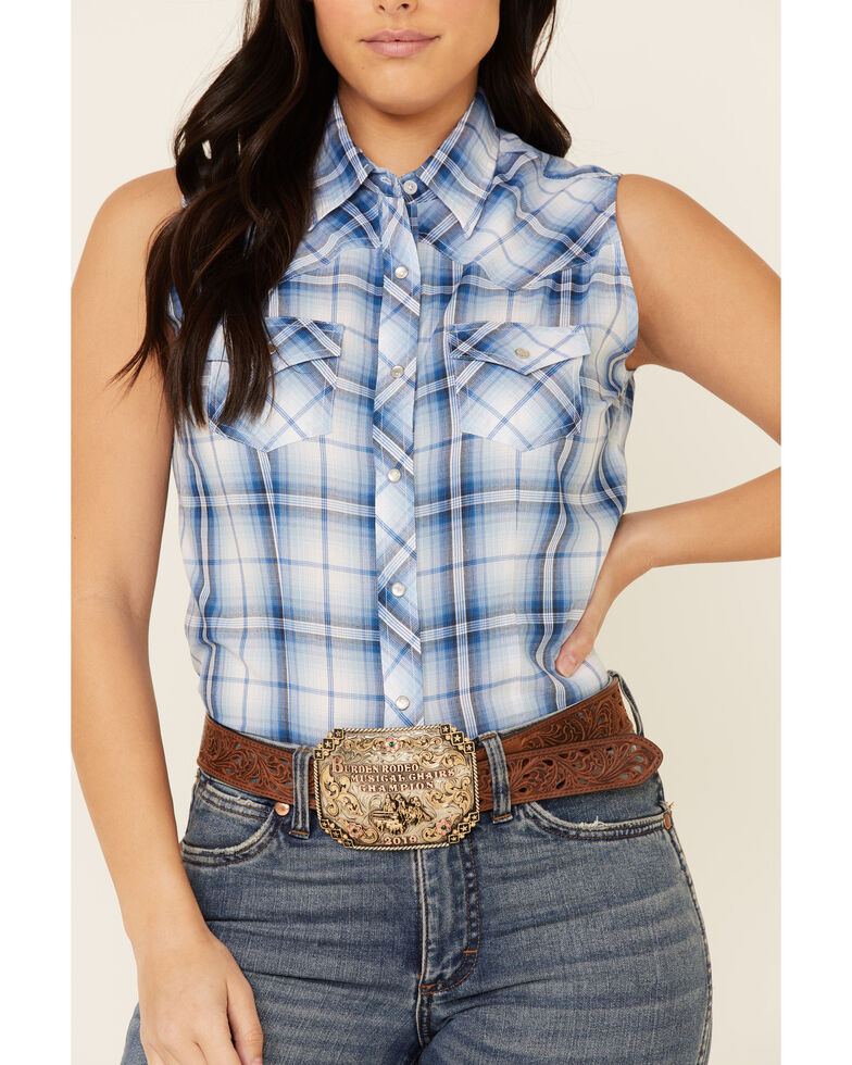 Ely Walker Women's Blue Plaid Sleeveless Snap Western Core Shirt , Blue, hi-res