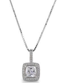Kelly Herd Women' Square Bezel Set Pave Pendant Necklace, Silver, hi-res