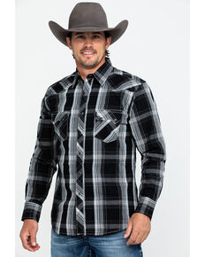 Wrangler Retro Men's Black Large Plaid Long Sleeve Western Shirt - Tall , Black, hi-res