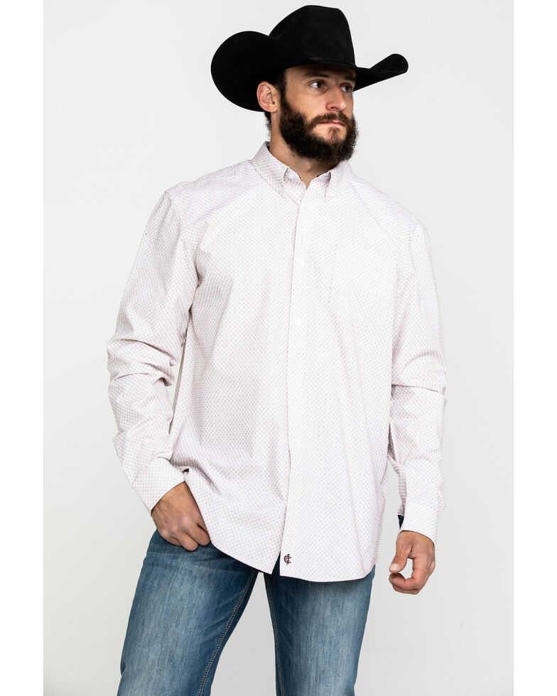 Cody James Core Men's Dolores Check Plaid Long Sleeve Western Shirt , White, hi-res