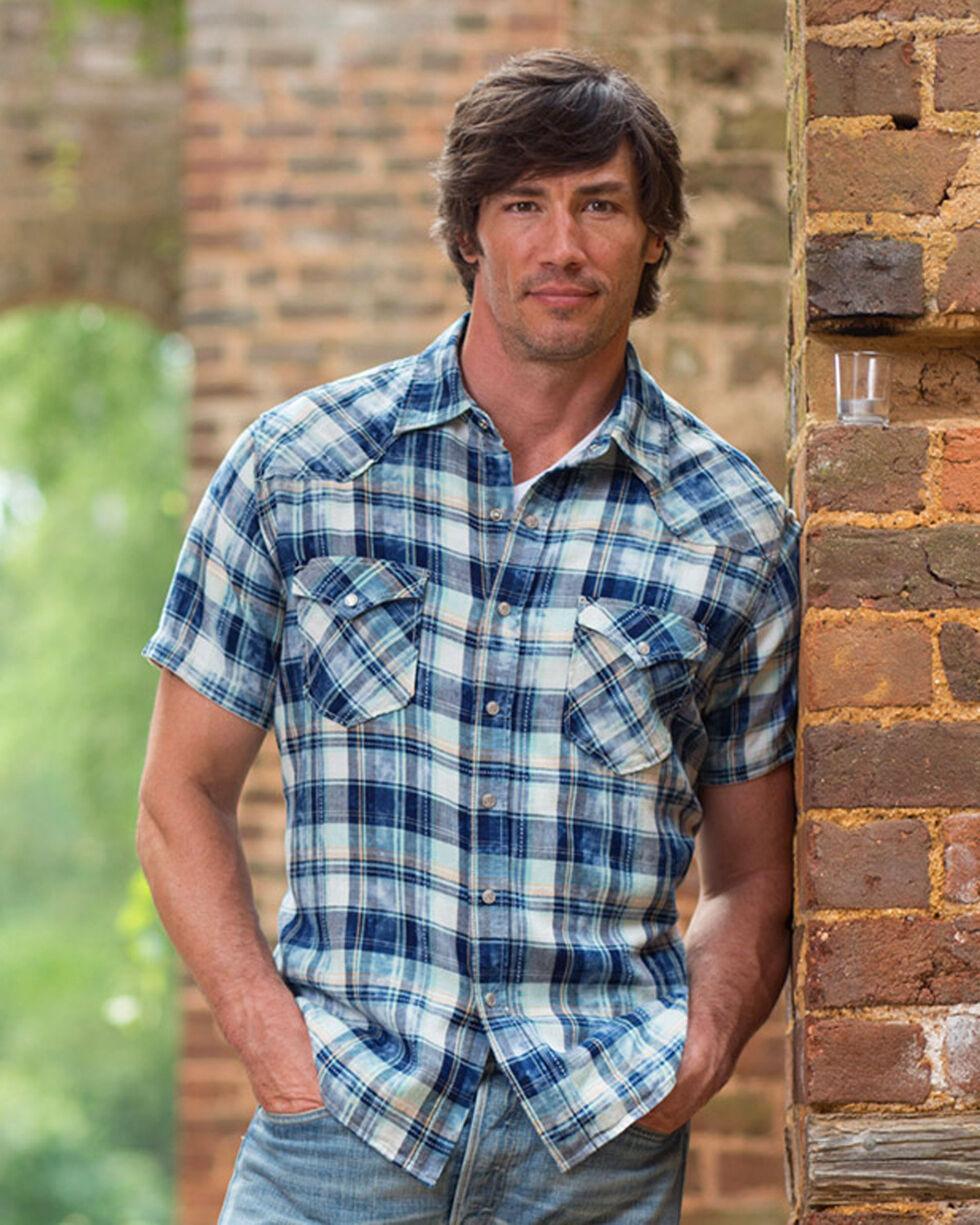 Ryan Michael Men's Indigo Pick Stitch Plaid Shirt , Indigo, hi-res