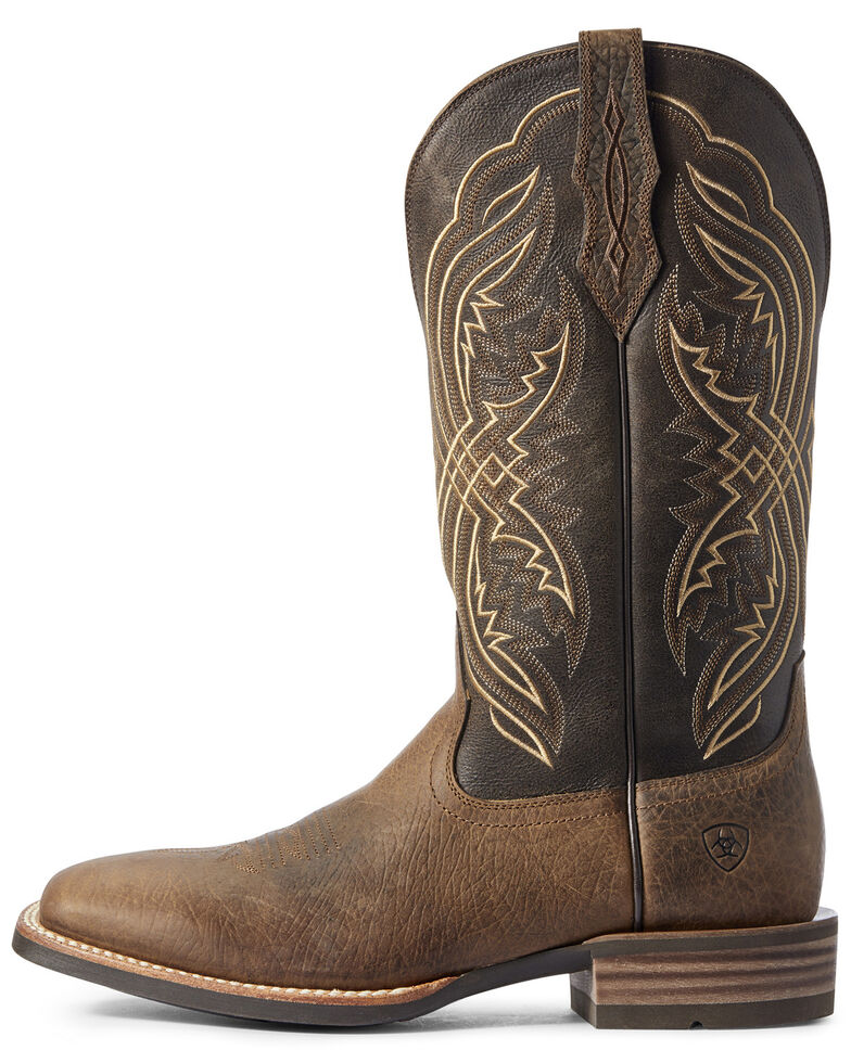 Ariat Men's Double Kicker Western Boots - Wide Square Toe, Brown, hi-res
