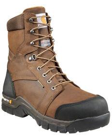 "Carhartt Men's 8"" Rugged Flex Waterproof Insulated Work Boots - Composite Toe, Dark Brown, hi-res"