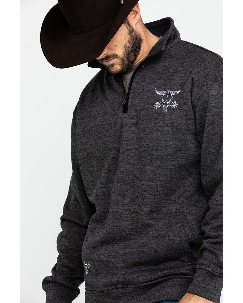 Cowboy Hardware Men's Barbed Skull Cadet Speckle Fleece Pullover Jacket , Charcoal, hi-res
