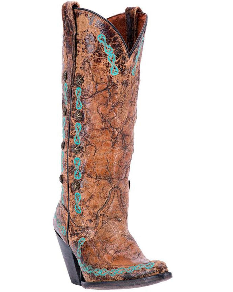 Dan Post Women's Maxi Western Boots - Snip Toe, Tan/turquoise, hi-res