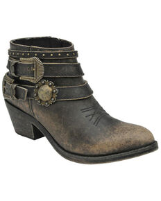 Circle G Women's Distressed Black Buckle Strap Booties, Black, hi-res