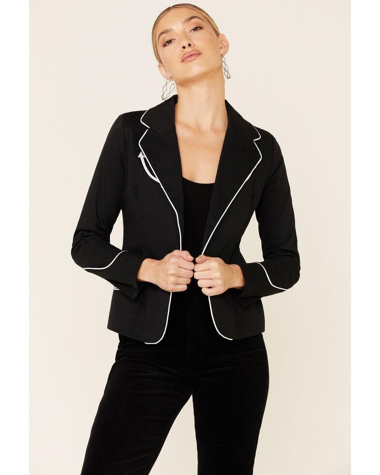 Rock & Roll Denim Women's Black Rodeo Contrast Piped Long Sleeve Blazer , Black, hi-res