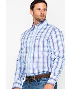 Wrangler 20X Men's Purple Plaid Performance Long Sleeve Western Shirt, Periwinkle, hi-res