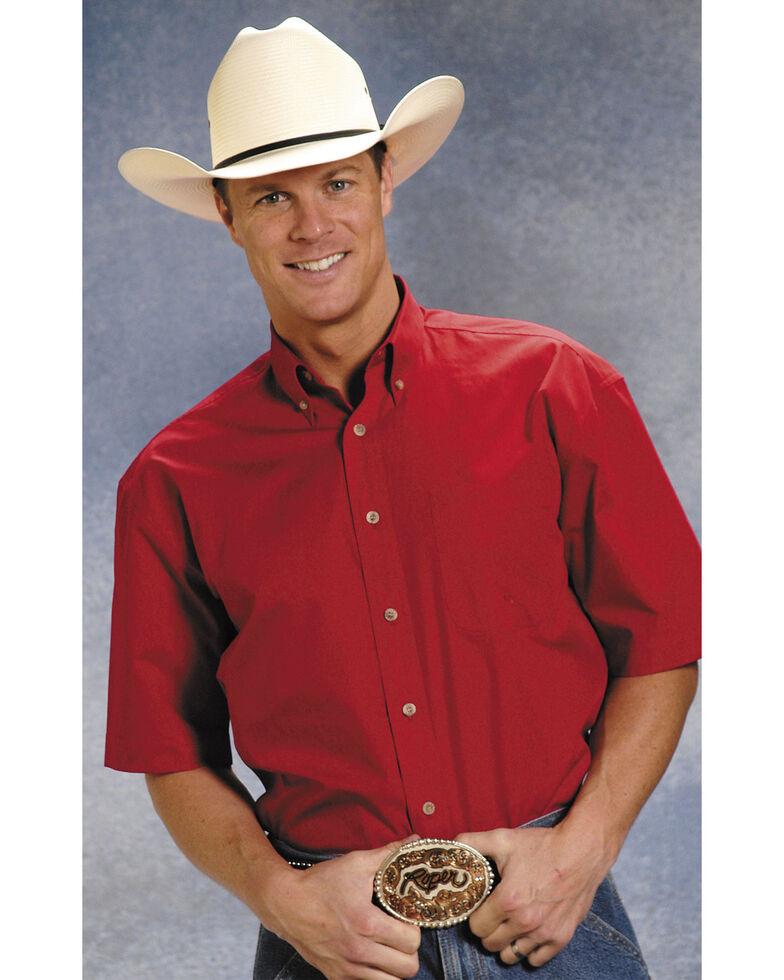 Roper Amarillo Collection Short Sleeve Men's Shirt, Red, hi-res