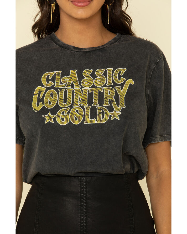 Rock & Roll Denim Women's Classic Country Gold Graphic Tee , Black, hi-res