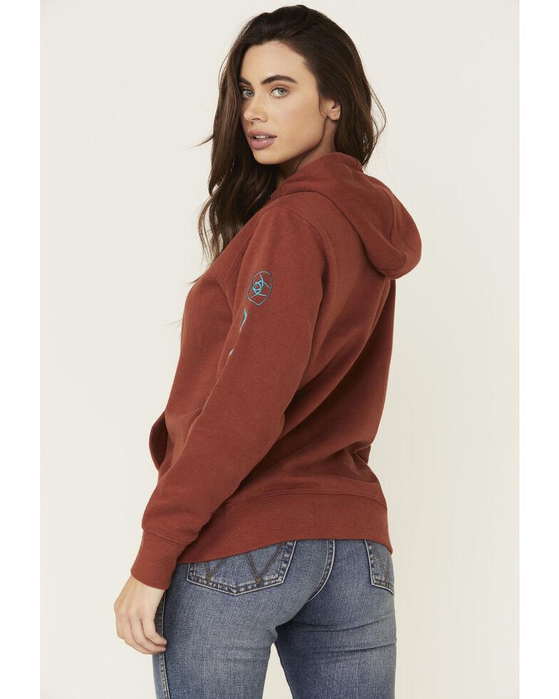 Ariat Women's Rust Copper Embroidered Sleeve Logo Hooded Sweatshirt , Rust Copper, hi-res