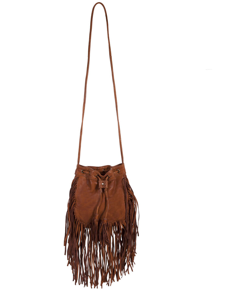 Scully Women's Leather Fringe Crossbody Bag, Tan, hi-res