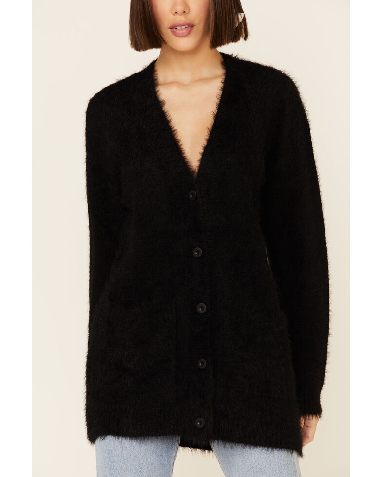 PJ Salvage Women's Feather Knit Button Front Cardigan , Black, hi-res