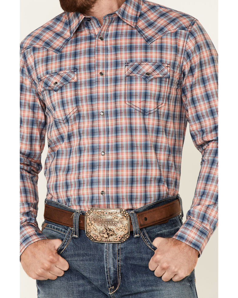 Cody James Men's Liberty Bell Large Dobby Plaid Long Sleeve Snap Western Shirt - Tall, Navy, hi-res