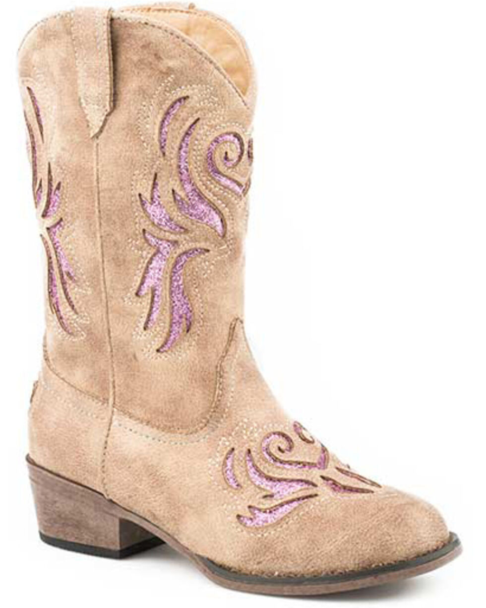 Roper Girls' Lydia Western Boots - Square Toe, Tan, hi-res