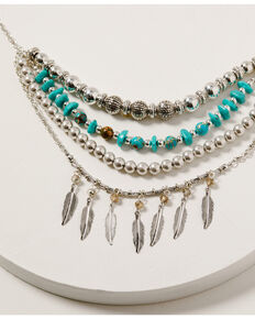Shyanne Women's Mystic Summer Turquoise Layered Fringe Necklace, Silver, hi-res