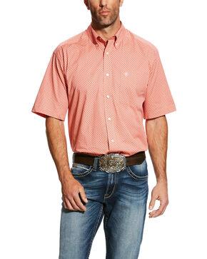 Ariat Men's Harsley Stretch Geo Print Short Sleeve Western Shirt , Orange, hi-res