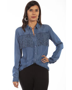 Honey Creek by Scully Women's Denim Fringe Long Sleeve Western Shirt, Blue, hi-res