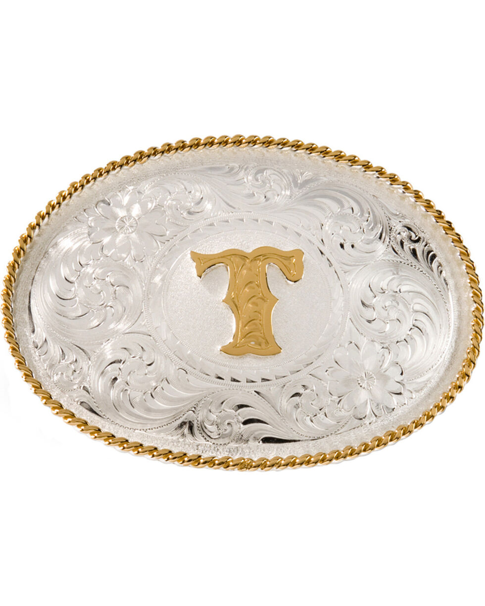 """Montana Silversmiths Initial """"T"""" Buckle, Silver, hi-res"""