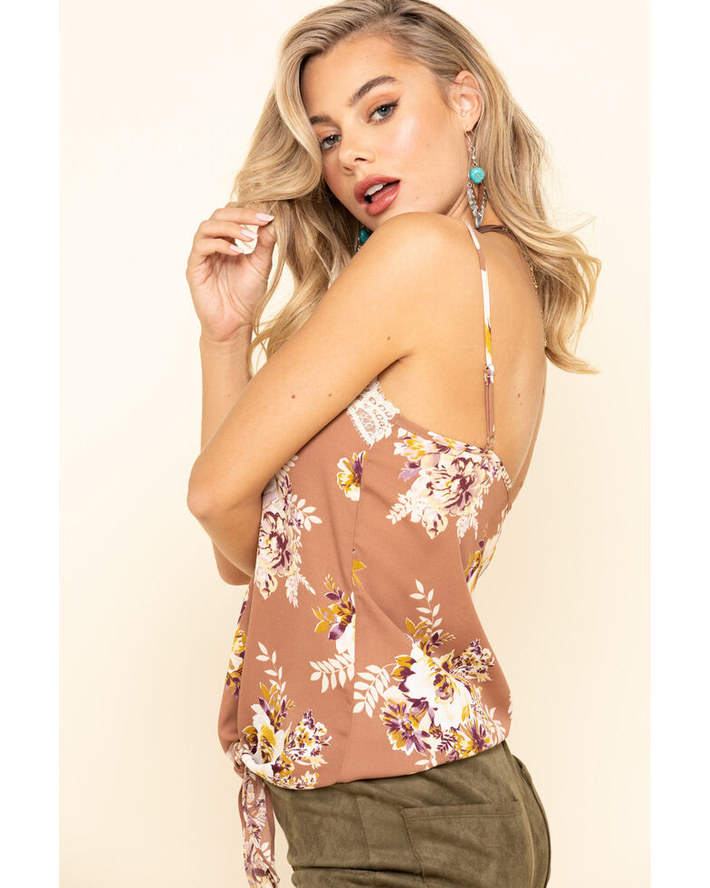 Jody of California Women's Floral Lace Trim Tie Front Cami, Taupe, hi-res