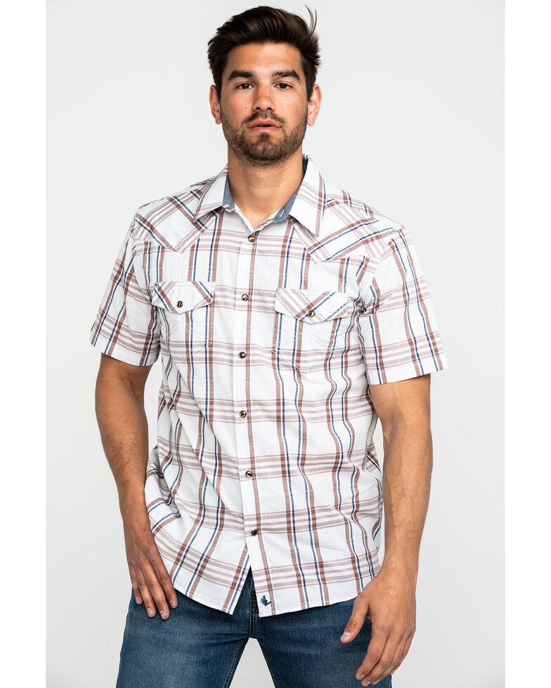 Cody James Men's Ace In The Hole Plaid Short Sleeve Western Shirt , White, hi-res