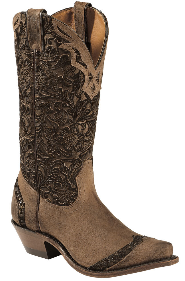 Boulet Women's Fancy Hand Tooled Inlay Western Boots - Snip Toe, Tobacco, hi-res