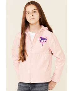 Shyanne Girls Pink Peplum Horse Heart Embroidered Hooded Zip-Front Jacket, Pink, hi-res