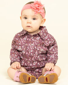 Shyanne Infant Girls' Dark Pink Paisley Print Snap Onesie, Pink, hi-res