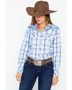Ariat Women's Fearless Embroidered Yoke Snap Plaid Long Sleeve Western Shirt , Red, hi-res