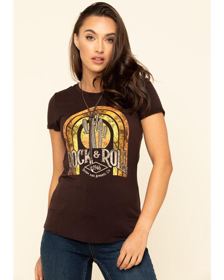 Rock & Roll Denim Women's Brown Rainbow Logo T-Shirt, Brown, hi-res