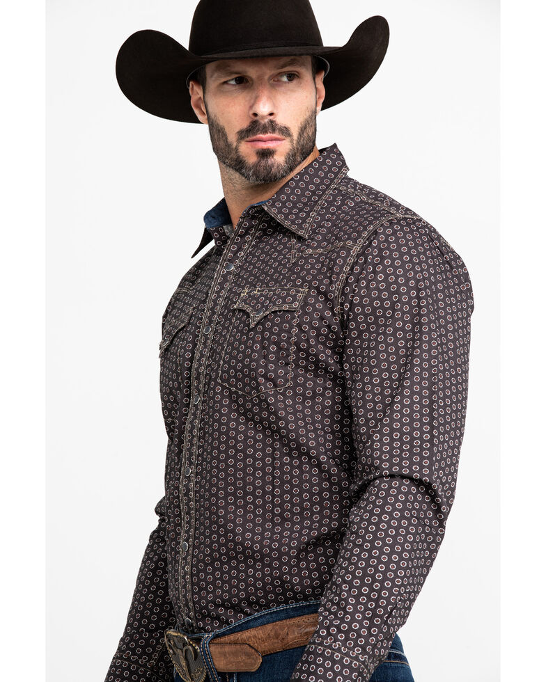 Stetson Men's Pinwheel Floral Geo Print Long Sleeve Western Shirt , Grey, hi-res