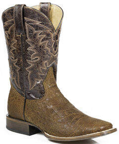 Roper Alligator Print Cowboy Boots - Wide Square Toe, Brown, hi-res