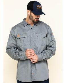 Hawx Men's Solid Grey FR Long Sleeve Woven Work Shirt - 5X Big , Silver, hi-res
